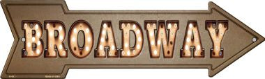 Broadway Bulb Letters Novelty Metal Arrow Sign