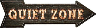 Quiet Zone Bulb Letters Novelty Arrow Sign