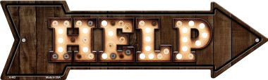 Help Bulb Letters Novelty Arrow Sign
