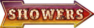 Showers Bulb Letters Novelty Arrow Sign