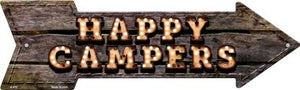 Happy Campers Bulb Letters Novelty Arrow Sign