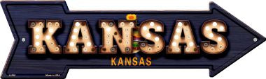 Kansas Bulb Lettering With State Flag Novelty Arrows