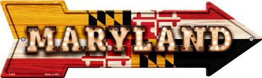 Maryland Bulb Lettering With State Flag Novelty Arrows