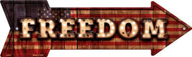 Freedom Bulb Letters American Flag Novelty Arrow Sign
