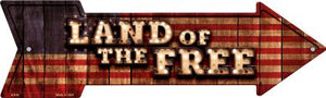 Land of the Free Bulb Letters American Flag Novelty Arrow Sign