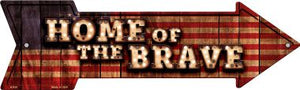 Home of the Brave Bulb Letters American Flag Novelty Arrow Sign
