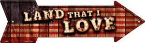 Land That I Love Bulb Letters American Flag Novelty Arrow Sign