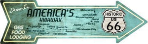 Americas Highway Drive In Novelty Metal Arrow Sign