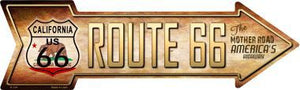 Route 66 California Flag Novelty Metal Arrow Sign