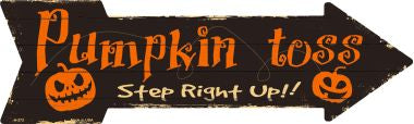 Pumpkin Toss Novelty Metal Arrow Sign