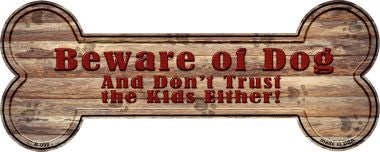 Beware of Dog and Kids Novelty Bone Magnet