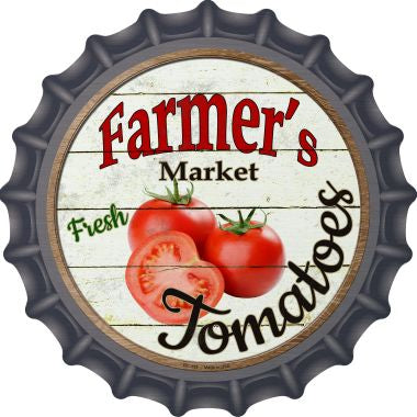 Farmers Market Tomatoes Novelty Metal Bottle Cap 12 Inch Sign