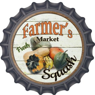 Farmers Market Squash Novelty Metal Bottle Cap 12 Inch Sign