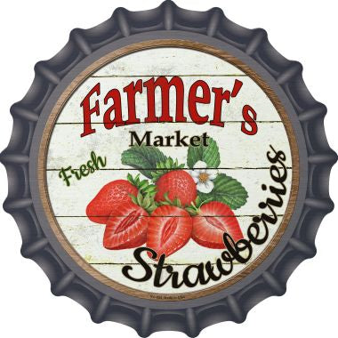 Farmers Market Strawberries Novelty Metal Bottle Cap 12 Inch Sign