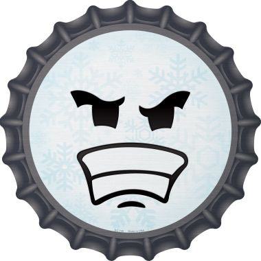 Angry Face Snowflake Novelty Metal Bottle Cap