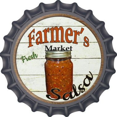Farmers Market Salsa Novelty Metal Bottle Cap 12 Inch Sign