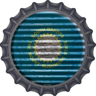 South Dakota Flag Corrugated Effect Novelty Metal Bottle Cap BC-951