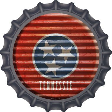 Tennessee Flag Corrugated Effect Novelty Metal Bottle Cap BC-952