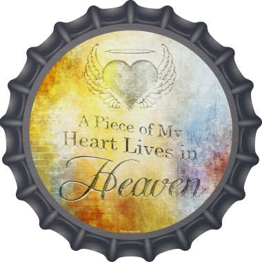 Heart Lives In Heaven Novelty Metal Bottle Cap BC-972