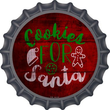 Cookies For Santa Novelty Metal Bottle Cap 12 Inch Sign