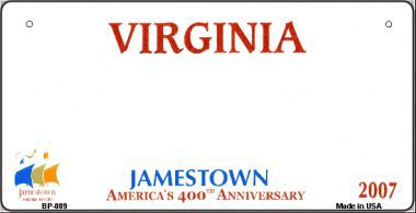 Virginia Novelty State Bicycle License Plate
