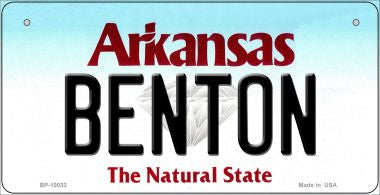 Benton Arkansas Novelty Metal Bicycle Plate