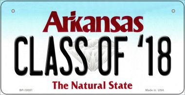 Class of '18 Arkansas Novelty Metal Bicycle Plate BP-10051