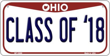 Class Of '18 Ohio Novelty Metal Bicycle Plate BP-10088