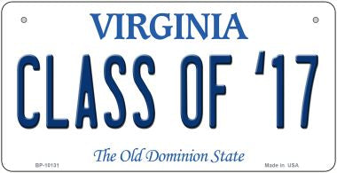 Class of '17 Virginia Novelty Metal Bicycle Plate BP-10131