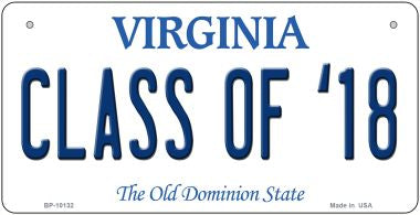 Class of '18 Virginia Novelty Metal Bicycle Plate BP-10132