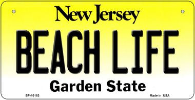 Beach Life New Jersey Novelty Metal Bicycle Plate