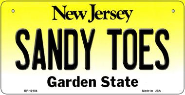 Sandy Toes New Jersey Novelty Metal Bicycle Plate BP-10184