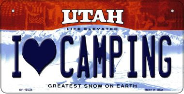 I Love Camping Utah Novelty Metal Bicycle Plate BP-10238
