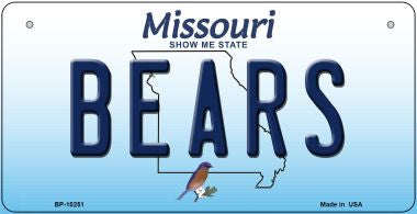 Bears Missouri Novelty Metal Bicycle Plate