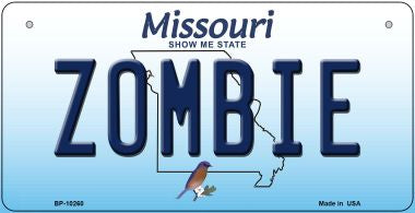 Zombie Missouri Novelty Metal Bicycle Plate