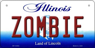 Zombie Illinois Novelty Metal Bicycle Plate