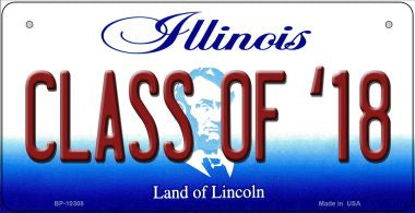 Class Of '18 Illinois Novelty Metal Bicycle Plate BP-10308