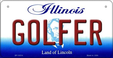 Golfer Illinois Novelty Metal Bicycle Plate BP-10314
