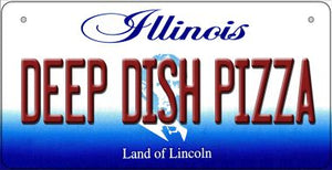 Deep Dish Pizza Illinois Novelty Metal Bicycle Plate BP-10315