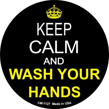Keep Calm Wash Your Hands Novelty Metal Mini Circle Magnet