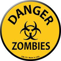 Danger Zombies Novelty Metal Mini Circle Magnet