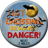 Bat Crossing Novelty Metal Mini Circle Magnet