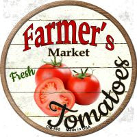 Farmers Market Tomatoes Novelty Metal Mini Circle Magnet