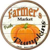 Farmers Market Pumpkins Novelty Metal Mini Circle Magnet