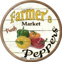 Farmers Market Peppers Novelty Metal Mini Circle Magnet