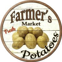 Farmers Market Potatoes Novelty Metal Mini Circle Magnet