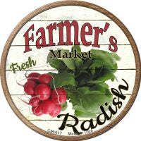 Farmers Market Radish Novelty Metal Mini Circle Magnet
