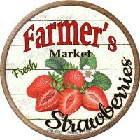 Farmers Market Strawberries Novelty Metal Mini Circle Magnet