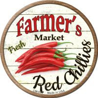 Farmers Market Red Chillies Novelty Metal Mini Circle Magnet