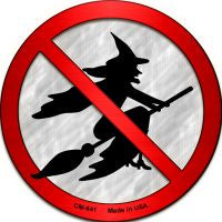 No Witches Novelty Metal Mini Circle Magnet